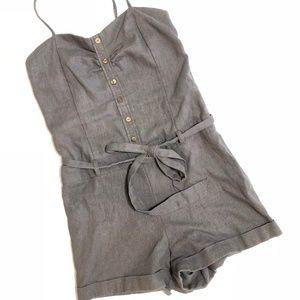 Grey Linen Romper With Belt